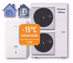 Picture of Panasonic | Aquarea T-CAP Split WH-SXC12H9E8+WH-UX12HE8 Generazione H -  Trifase da 12 kW - R410A