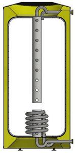 Picture of ELBI | Q-PPS1 400 Termoaccumulatore Polivalente in Plastica per Riscaldamento da 400 litri con Stratificatore e scambiatore